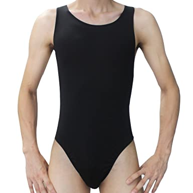 c3ebe34b427 Image Unavailable. Image not available for. Colour: YiZYiF Men's Smooth  Stretchy Thong Leotard Cool Briefs Vest Bodysuit Swimwear Black One Size