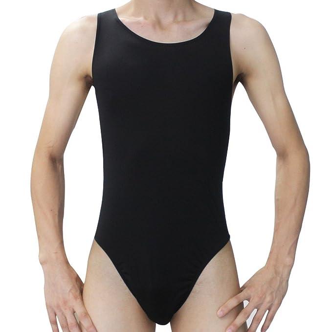 fa802288932 FEESHOW Men s Stretch Swimsuit Leotard Bodysuit Underwear Bikini Thongs  Black One Size