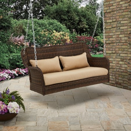 Camrose Farmhouse Wicker Outdoor Porch Swing-Dark Brown