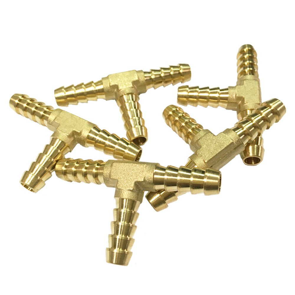 NIGO 3-Way Tee Brass Hose Fitting 5/16'' x 5/16'' x 5/16'' Barb - 5 Pack