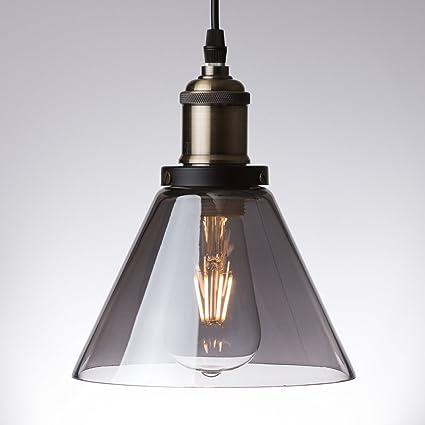 Lámpara de techo de cristal ahumado, estilo industrial ...