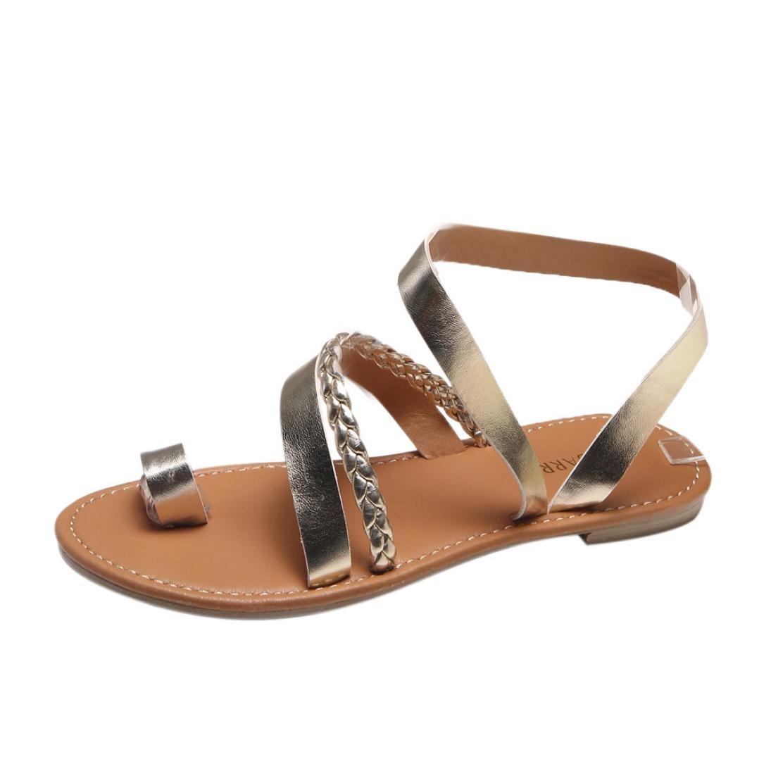 CLEARANCE SALE! MEIbax frauen im sommer strappy gladiator flat - flip - flops beach sandals schuhe (43, Gold)43|Gold