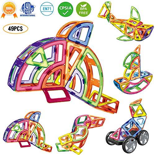 Magnetic Construction Toy - Rainbrace Magnetic Blocks Set for Kids, 3D Magnet Tiles Magnetic Building Blocks Preschool Educational Construction Kit, Gifts Magnetic Shape Toys for Skills Learning Boys Girls Toddler 3+ Year Old
