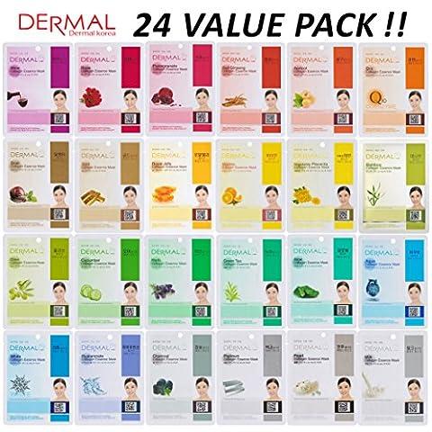 [24 value pack] Dermal Korea Collagen Essence Full Face Facial Mask Sheet - Face Sheet