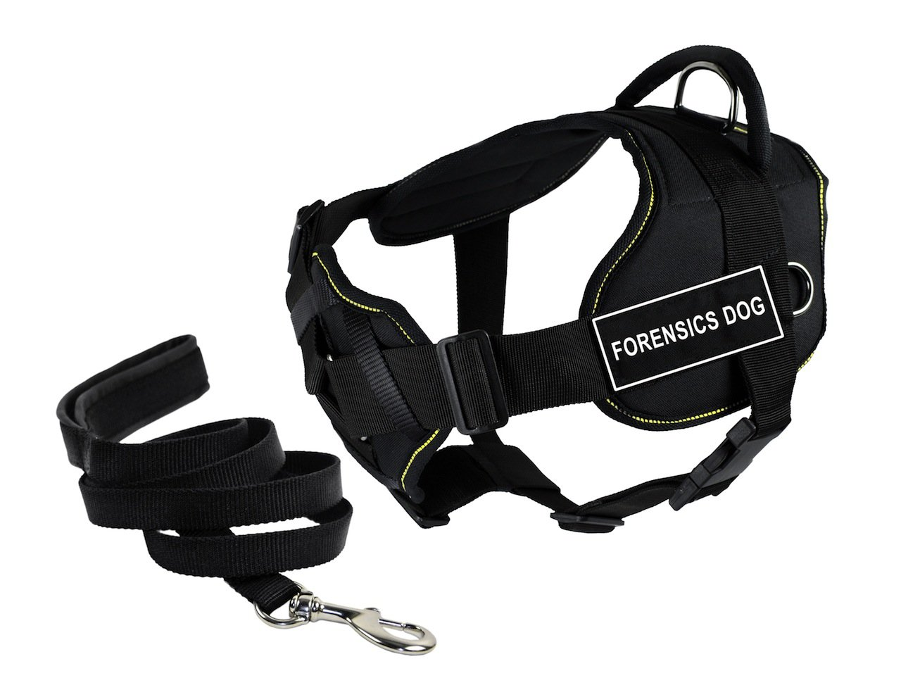 Dean & Tyler's DT Fun Chest Support FORENSICS DOG Harness, Small, with 6 ft Padded Puppy Leash.
