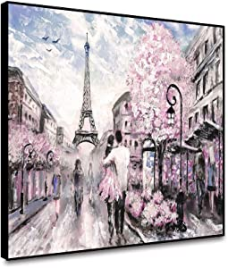 """Musemailer Framed Canvas Wall Art 10""""x8"""" Painting Artwork of Paris Street Romantic Pink Flowers Couples Blue Sky Eiffel Tower Canvas Printed Picture for Walls Living Room Bedroom Hallway Home Decor"""