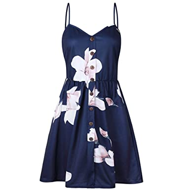Pengy Fashion Cocktail Women Sexy Sling Sleeveless V-Neck Flower Print  Button Party Princess Dress d23701c3f
