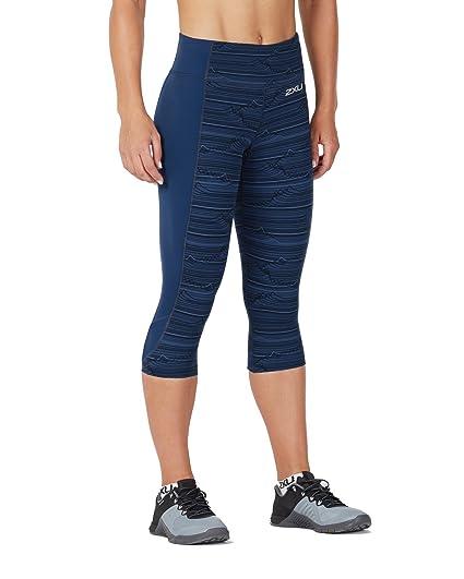 15360173ad 2XU Women's Fitness Compression 3/4 Tights w/ Storage (Black Lapis Blue  Waves