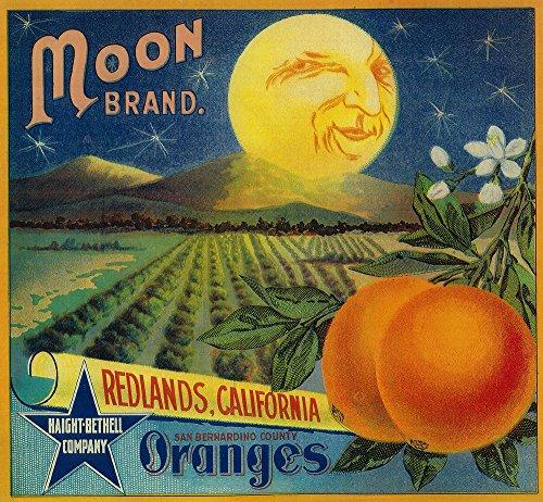 Moon Orange - Vintage Label (9x12 Fine Art Print, Home Wall Decor Artwork Poster)