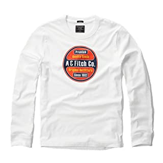 "Abercrombie y Fitch para hombre Applique Logo Graphic camiseta de manga larga en color blanco â€"" nueva etiqueta"