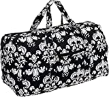 Weekender Bag - Quilted Carry On Duffel Bag by Silver Lilly (Black/White Damask)
