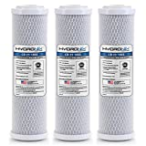 Hydronix HX-CB-25-1005/3 Whole House RO and Drinking Systems Nsf Coconut Carbon Block Water Filter 2.5 x 10-5 Micron, White