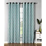 "Window Elements Wanda Faux Silk Extra Wide Grommet Curtain Panel, 54 x 96"", Aqua/White/Black"