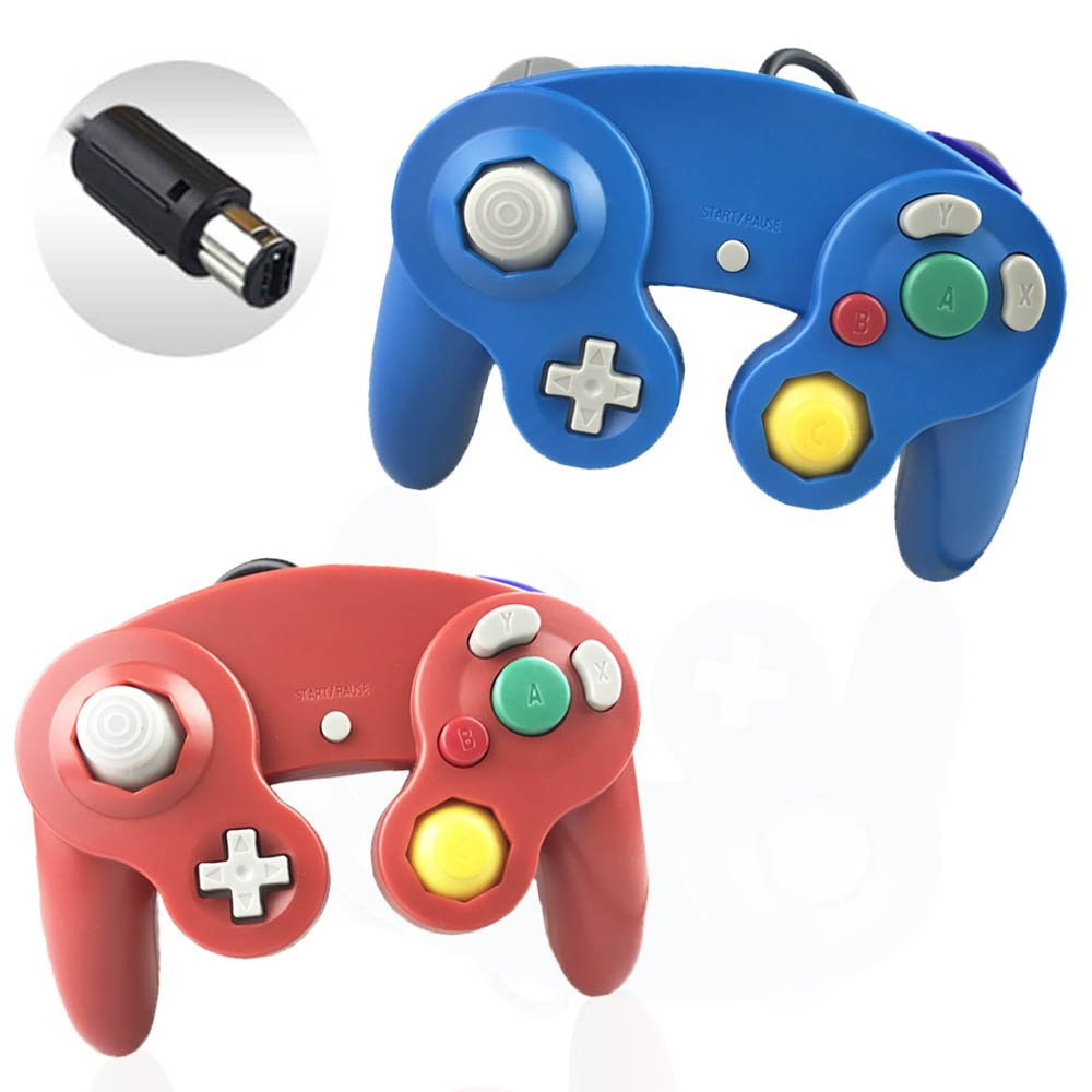 Reiso 2 Packs NGC Controllers Classic Wired Controller Wii Gamecube(Red Blue)