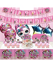 LOL Birthday Party Supplies, Birthday Decorations,Girls Party Favor, LOL Theme Party includes Happy Birthday Banner, Plates, Tablecover, Cake Toppers, Balloons for Kids Adults