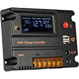 Anself LCD Bildschirm Solarlade Regler Solar Panel Batterie Regulator mit Dual USB 20A 12V 24V