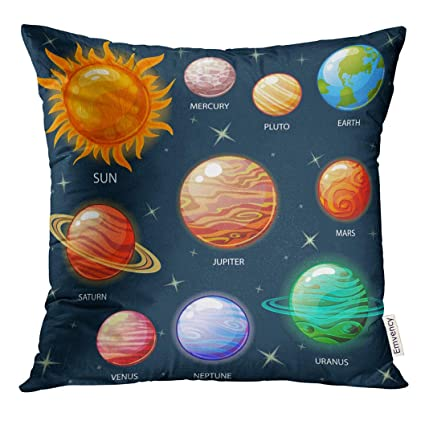 Golee Throw Pillow Cover Space Planets of The Solar System Sun Mercury  Venus Earth Mars Jupiter Saturn Uranus Neptune Pluto Decorative Pillow Case