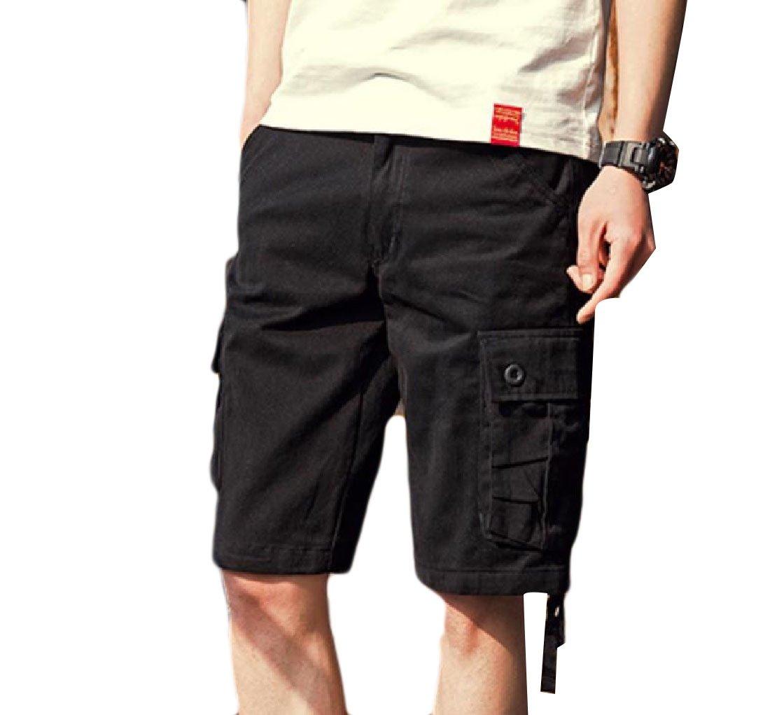 DoufineMen Cargo Pants Summer Cool Harem Multi-Pocket Loose Plus Size Jogging Shorts Black XXS