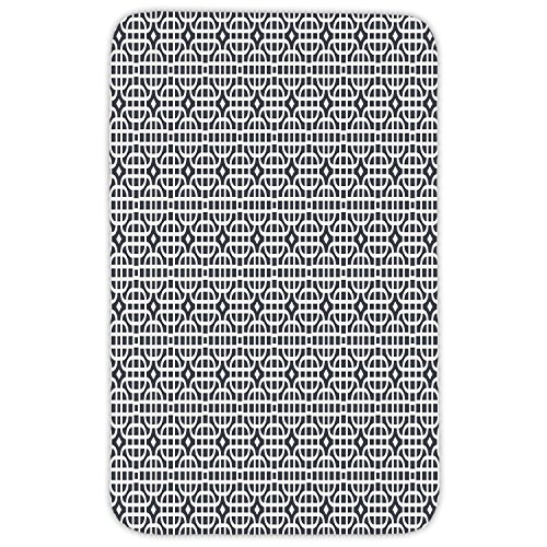 90 Vertical Corner - Rectangular Area Rug Mat Rug,Geometric,Ornamental Motifs Vertical Horizontal Stripes Squares with Oval Corners Decorative,Charcoal Grey White,Home Decor Mat with Non Slip Backing