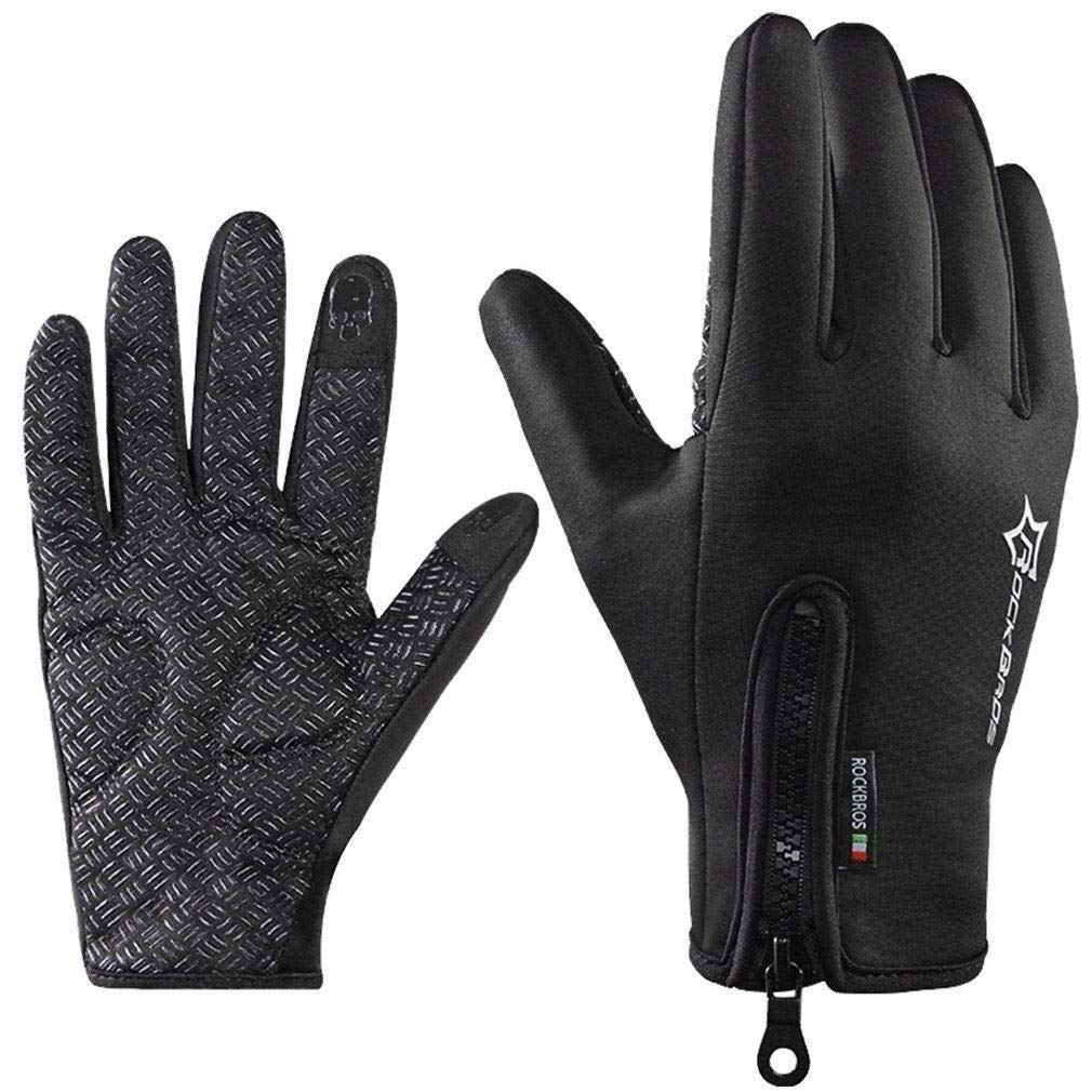 ROCKBROS Guanti Dito Pieno Guanti Inverno Caldo Pile bici guanti touch screen anti scivolo