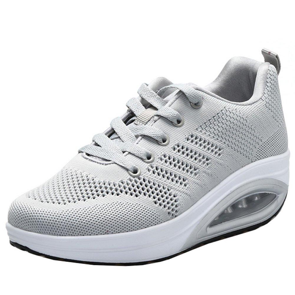 JARLIF Women's Comfortable Platform Walking Sneakers Lightweight Casual Tennis Air Fitness Shoes US5.5-10 B073QMG8D5 8 B(M) Women / 6.5 D(M) Men / EU 39 All Gray