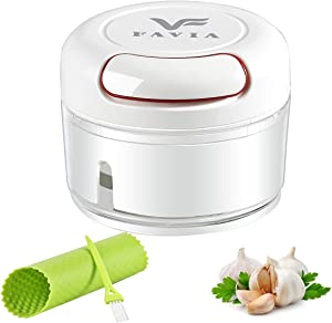 FAVIA Manual Food Processor Mini Garlic Chopper Portable Seasoning Masher with A Garlic Peeler and A Cleaning Brush Dishwasher Safe