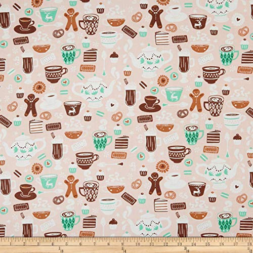 Camelot Fabrics Gingerbread Bakery Chocolate Delights Fabric, Light Pink, Fabric By The Yard