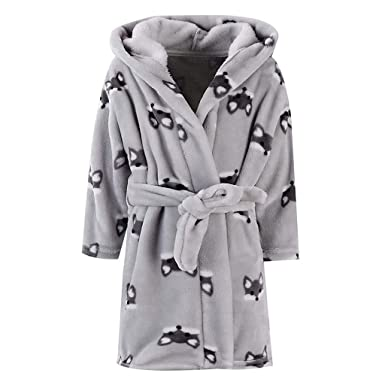 Bitriddis Kids Boys Girls Bathrobe 100% Cotton Luxury Velour Towelling  Hooded Dressing Gown Soft Comfortable b338fa16c