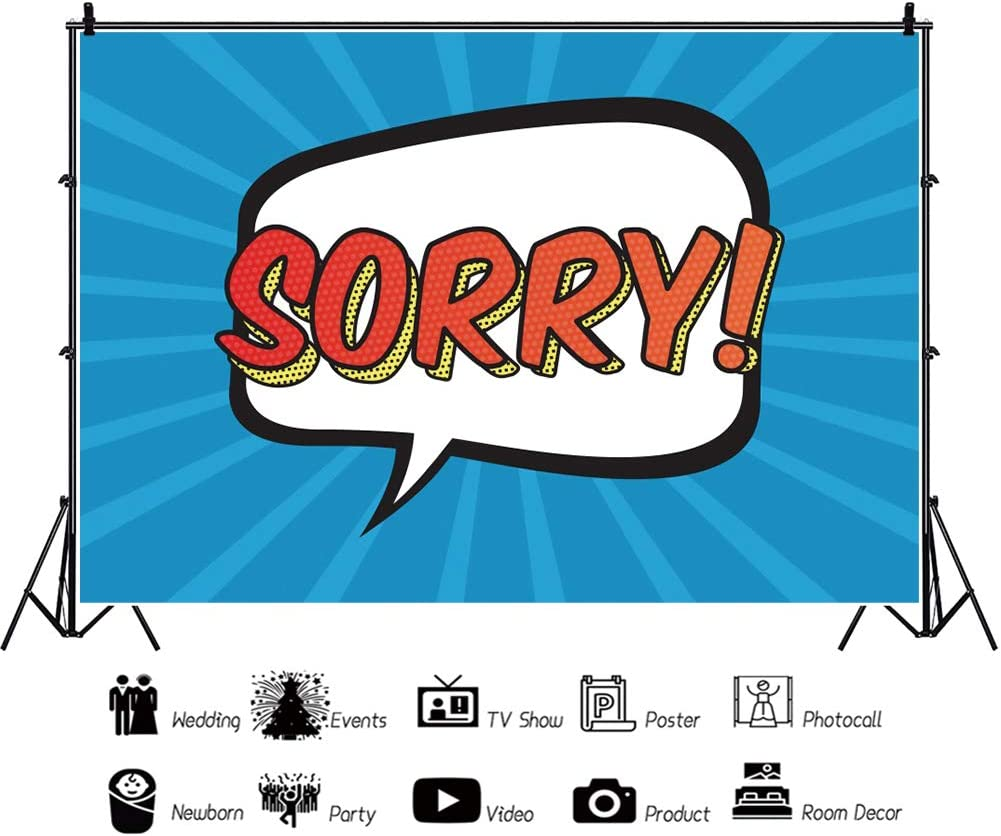 Yeele 6x4ft Say Sorry Theme Backdrop Making an Apology Events Party Photography Background Selfies Portrait Cartoon Pictures Photo Booth Acting Show Photoshoot Wallpaper