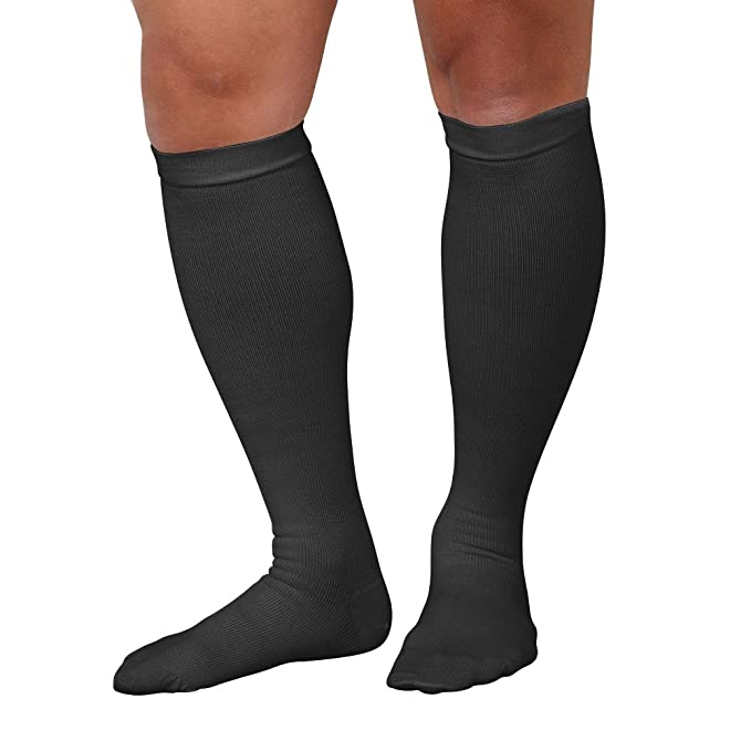 a75cac65c Support Plus Men s Firm Compression Dress Socks - Wide Calf - Black - Large