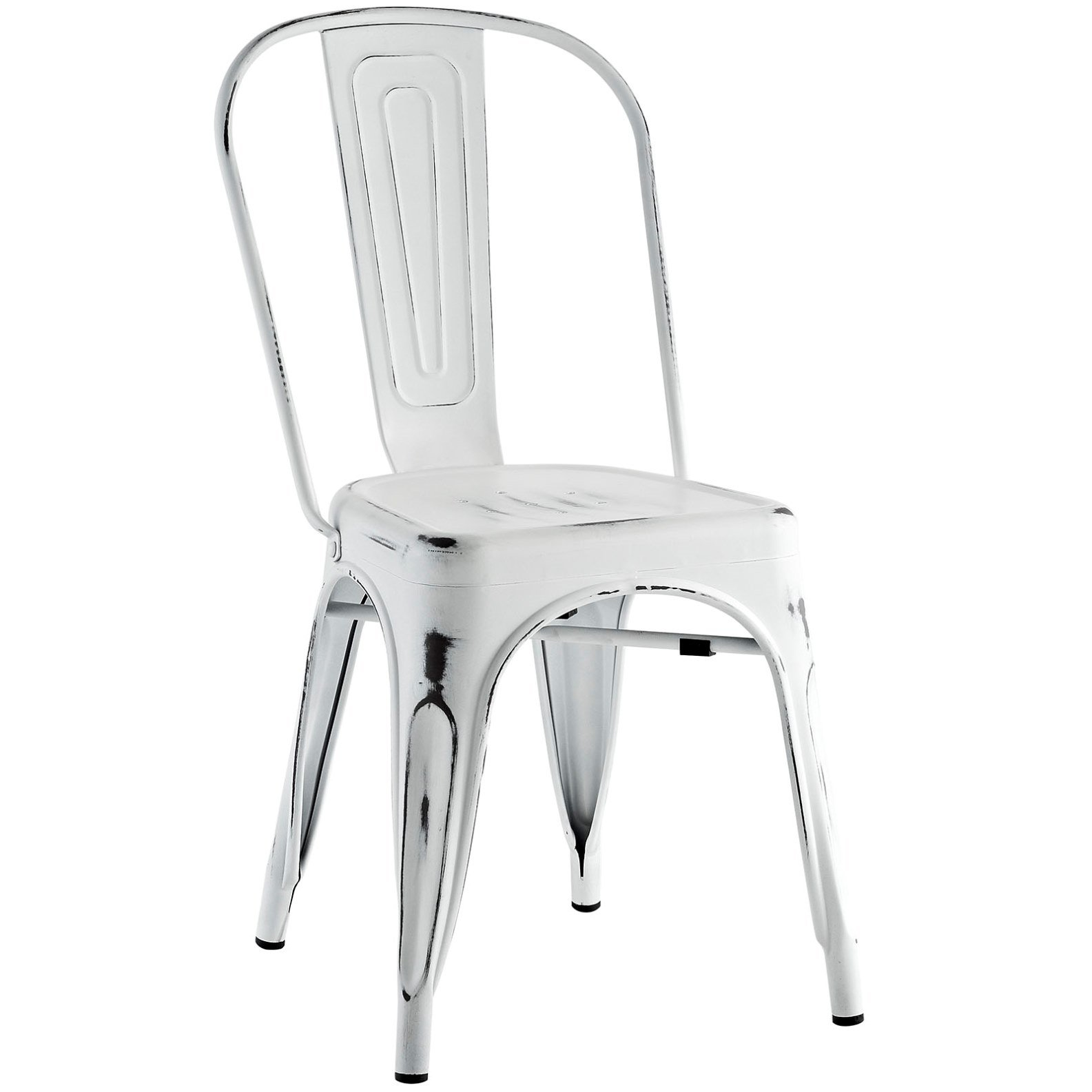 Modern Contemporary Industrial Distressed Antique Vintage Style Kitchen Dining Chair, White, Metal by America Luxury - Chairs