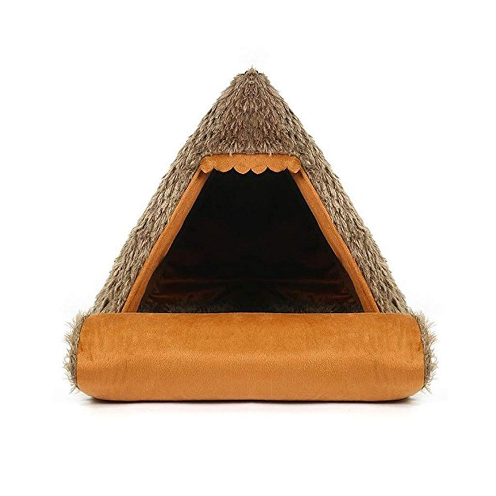 Brown Pet Palace Dog House Teddy Bomei Small Dog Puppy Tent Cat Nest Kitty Dog House Four Seasons Universal Mongolian Bite Resistance Mat Can Fold Brown (color   BROWN)