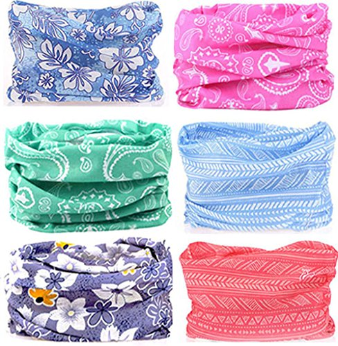 Cap Microfiber Print (KALILY 6PCS Headband Bandana - Versatile Flower Headwear –Multifunctional Seamless Neck Gaiter, Headwrap, Balaclava, Helmet Liner, Face Mask for Camping, Running, Cycling, Fishing etc)