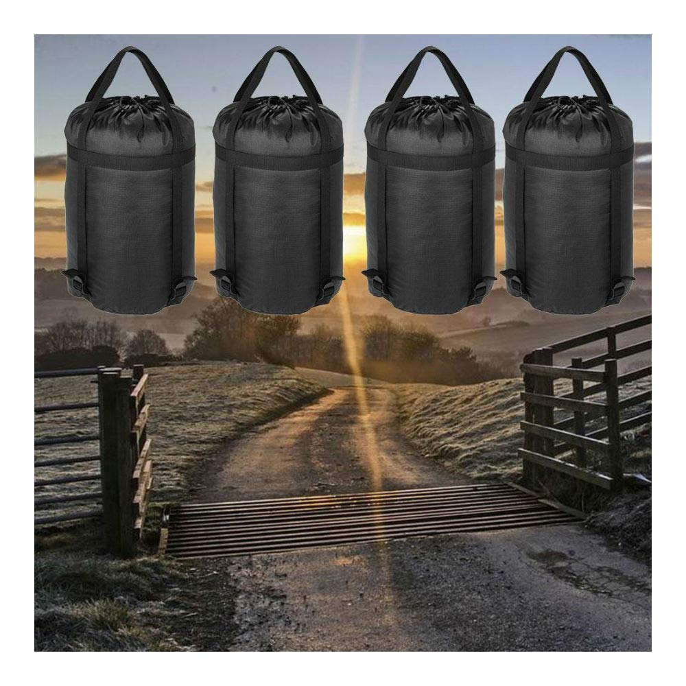 4pcs Lightweight Compression Stuff Sack Outdoor Camping Sleeping Bag Black 0S6J by Unknown