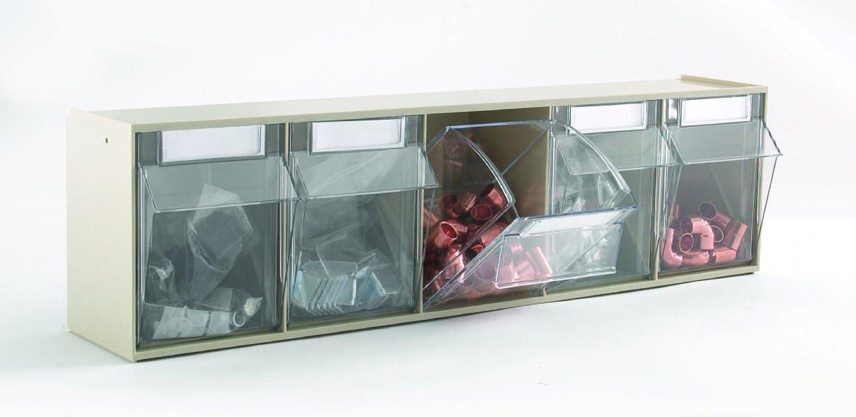 L = 133Mm X W = 600Mm X H = 165Mm Color Size Quantum Storage 5 Compartment Clear Tilt Out Bin Grey