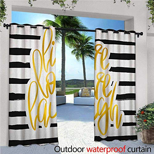 Live Laugh Love Balcony Curtains Romantic Design with Hand Drawn Stripes and Calligraphic Text Outdoor Patio Curtains Waterproof with Grommets W120 x L108 Black White Earth Yellow (Skinny Stripe Earth)
