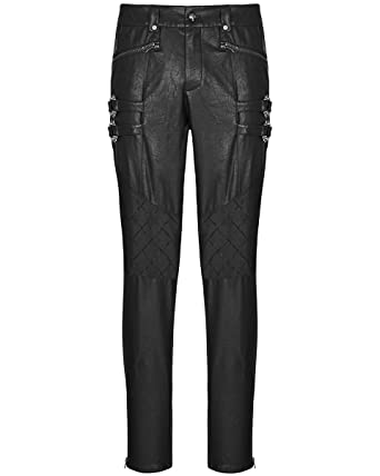 7ffc245a88 Punk Rave Mens Faux Leather Pants Jeans Black Gothic Dieselpunk Biker  Trousers: Amazon.co.uk: Clothing