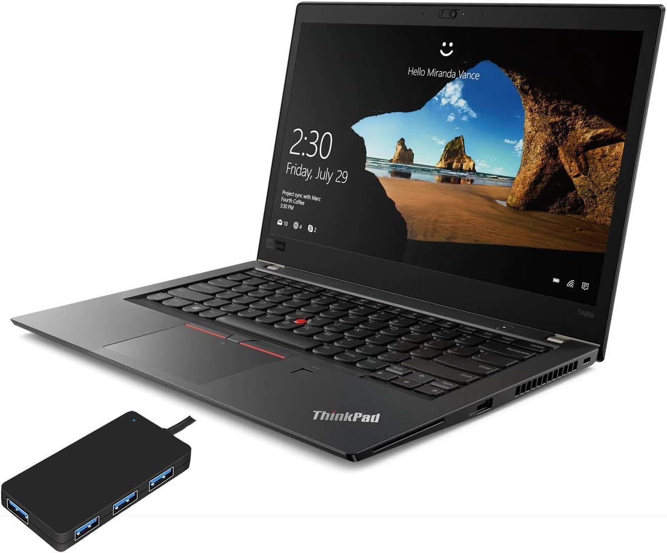 "Lenovo ThinkPad T480s Home and Business Laptop (Intel i7-8650U 4-Core, 40GB RAM, 512GB PCIe SSD, Intel UHD 620, 14.0"" Full HD (1920x1080), Fingerprint, WiFi, Bluetooth, Win 10 Pro) with USB Hub"
