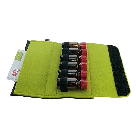 Estuche de medicamento, Botiquín de Viaje, Fabricado en Fieltro de Lana, 6 Lazos para frascos de glóbulos (10 ml), envase para glóbulos y botiquín para almacenar medicamentos homeopáticos (Verde): Amazon.es: Hogar