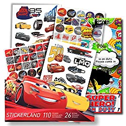 Disney Cars 3 Fun Set Cars 3 Stickers & Disney Cars 3 Tattoos Bundle With Specialty 2-sided Door Hanger