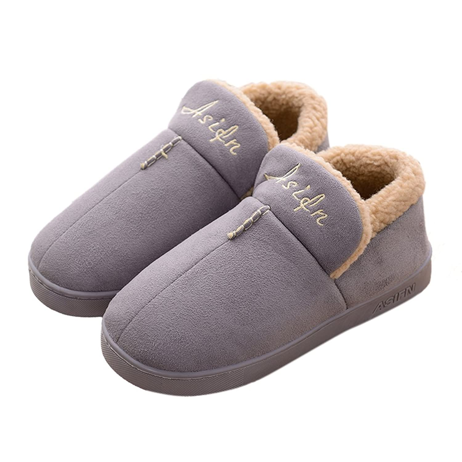 Agowoo Couples Plush Indoor Bedroom House Slippers Boots