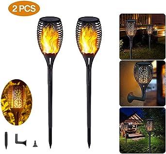Lamparas de Jardin, Luces Solares Antorcha, Luces Decoracion Jardin Exterior, Ideal Para Jardín y Patio, Lámparas Solares Farola LED, Fácil Instalación-Sin Cables (2pcs): Amazon.es: Iluminación