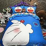 CASA 100% Cotton Kids Bedding Set Boys Girls Doraemon the First Duvet cover and Pillow cases and Flat sheet,Boys Girls,4 Pieces,King