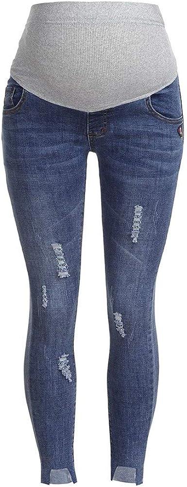 Risthy Premama Vaqueros Leggings Denim Pantalones Cinturon Para Barriga Vaqueros Rotos Irregular Embarazada Maternidad Pantalones De Yoga Para Mujer Amazon Es Ropa Y Accesorios