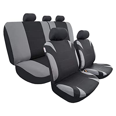 Universal Car Seat Covers Set, Full Coverage Auto Seat Covers of 5 Detachable Headrests and Split Rear Bench, Seat Protector Fit Most Car Truck SUV or Van, Non Slip, Airbag Split Ready, Black Grey: Automotive