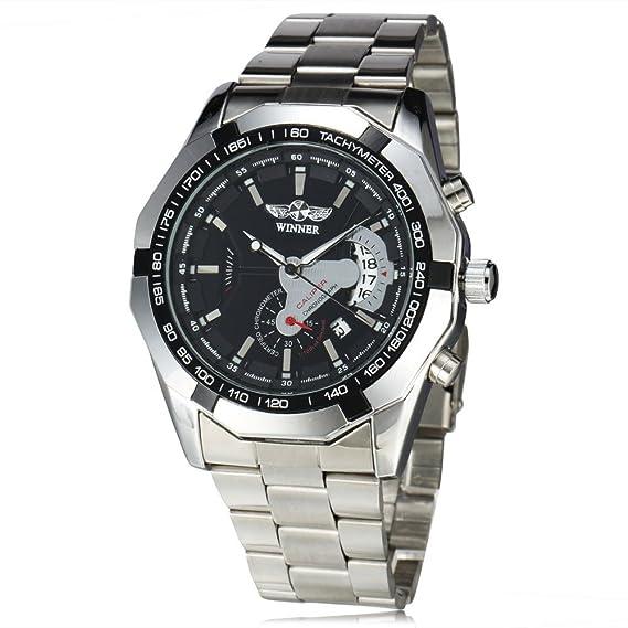 Winner automático mecánico relojes hombres señores íntegramente en acero inoxidable calendario día Auto FECHA marca de lujo de los hombres de los relojes de ...