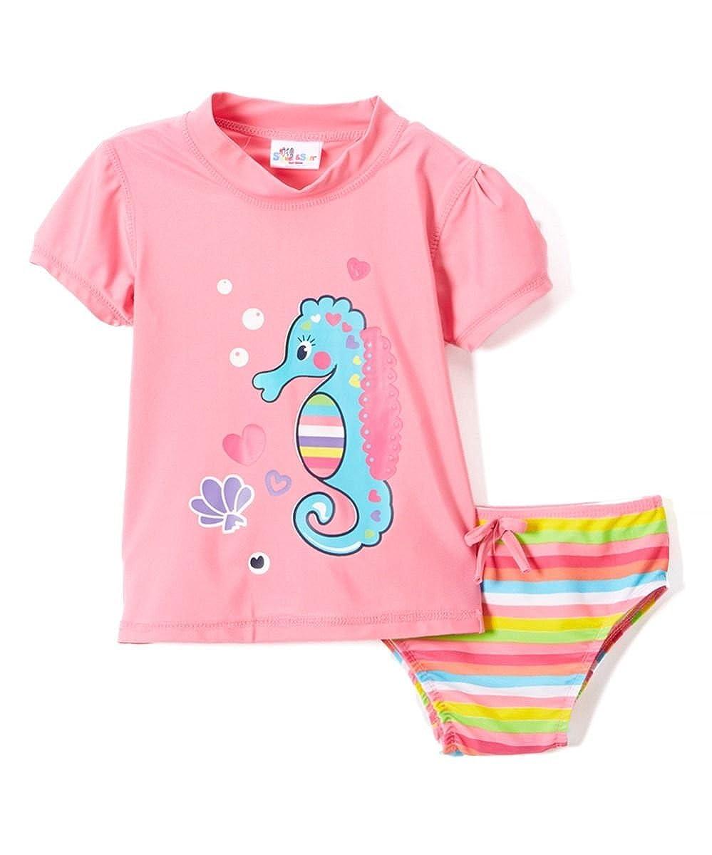 Baby Girls Rashguard Set 2-Pc Short Sleeve Bikini with Sun Protection -Seahorse
