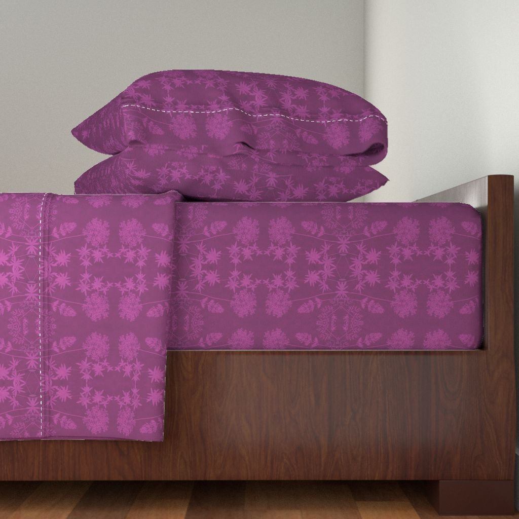Roostery Flowers 4pc Sheet Set Solar Print Flowers - Redviolet by Weavingmajor King Sheet Set made with
