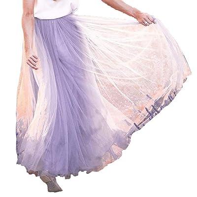 FeMereina Falda Plisada de Malla de Doble Capa para Mujer, Falda Larga de Cintura Elástica, Falda Larga de Gasa Retro: Ropa y accesorios