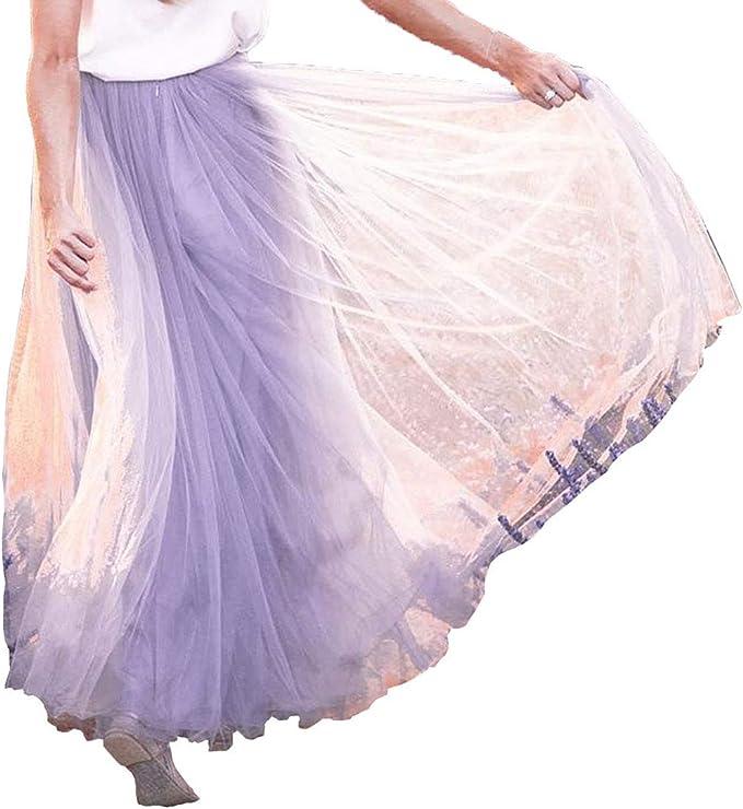 FeMereina Falda Plisada de Malla de Doble Capa para Mujer, Falda ...